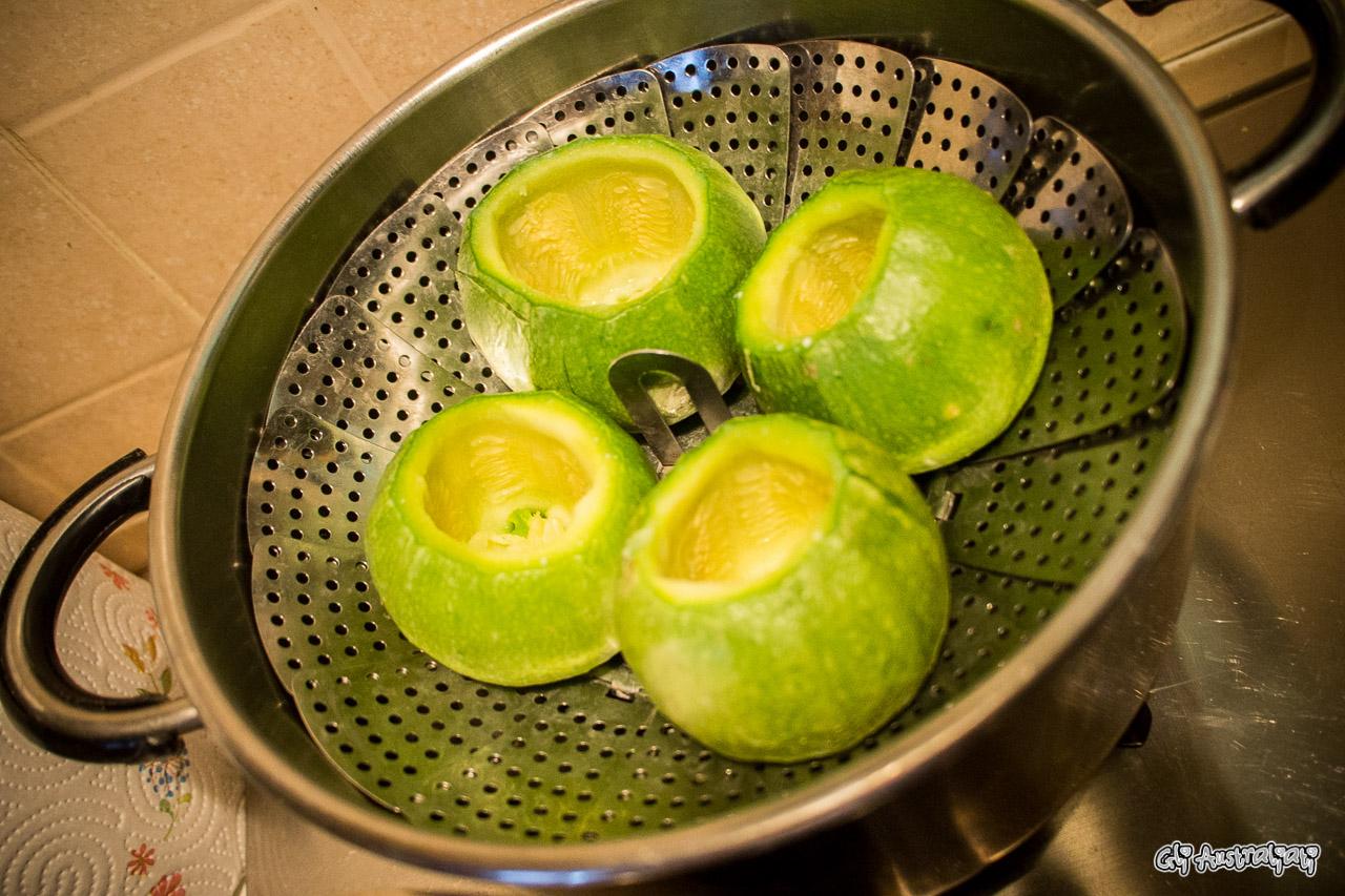 Zucchine al forno ripiene di cous cous